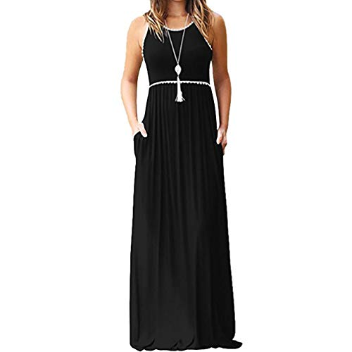 KIMODO Women's Round Neck Sleeveless Maxi Dress Casual with Pocket Long Dresses