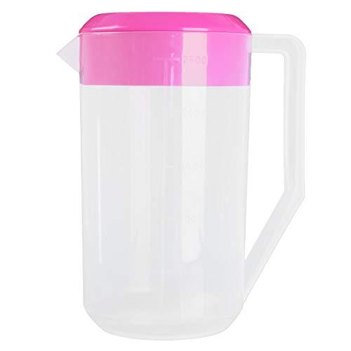 Agoky 2500 ML Becher mit Deckel Ausgießer Kunststoff Messbecher transparent Kanne Wasser für Kaltwasser EIS Tee Saft Bier Küche Zubehör Rose Rot One Size Küche Saft