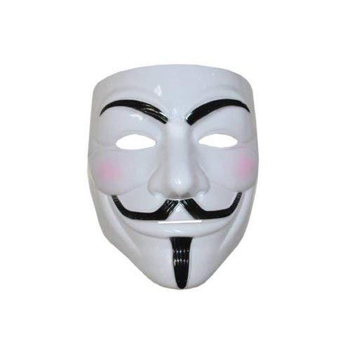 Lively Moments Maske Anonym mit Schnurrbart und Augenbrauen in weiß