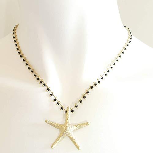 Halskette mit Seestern Anhänger, Messing matt vergoldet mit kleinen schwarzen Glasperlen