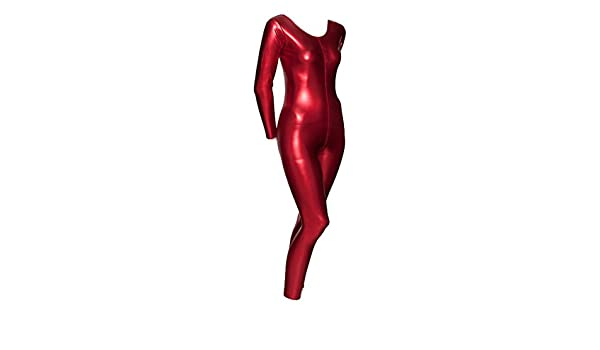 Red Metallic Halloween Devil Fancy Dress Unitard Catsuit Costume Outfit KDC017