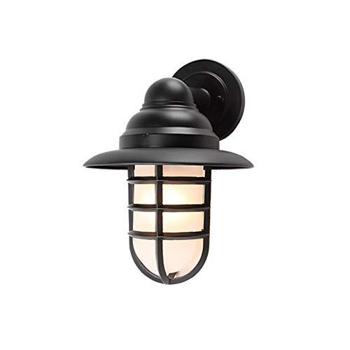 Single Zaun (Außenwandleuchte 1- Flammig Landhaus Industrielle Retro Wandlampe Wasserdichte Terrasse lampe Wand Zaun Außenleuchte, E27 Single Head Aluminium Milchglas Wandlichter Braun Aussenlampe Antik)