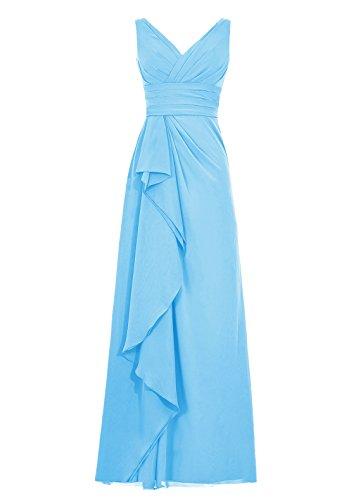 Dresstells, Robe de soirée mousseline, robe longue de cérémonie, robe longueur ras du sol de demoiselle d'honneur Bleu