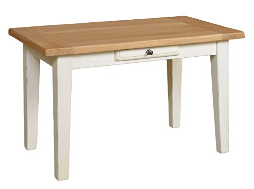 Macazba 7101GIV3C Table de Ferme Plateau à Encadrement Fixe Épaisseur 4,5 cm avec 1 Tiroir Pieds Gaines 130 x 75 x 77 cm Chêne Ivoire/Chêne Blond