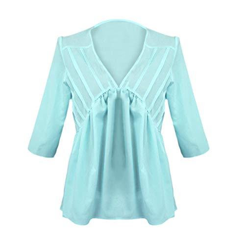 Zegeey Damen T-Shirt Kurzarm V-Ausschnitt Einfarbig Falten Sommer LäSsige Lose Oberteil Tops Bluse Tunika Pullover (Grün,EU-42/CN-2XL)