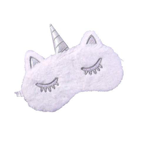 MSYOU Schlafmaske aus Plüsch, Einhorn-Stil, Schattierung, Ermüdung der Augen, verstellbar, für Jungen und Mädchen, Schlafgeräte, weiß (Weiß) - 4216J2SHL13W1A5TU1