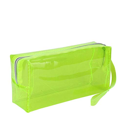 Bobopai Large Transparent Solid Color Zipper Cosmetic Jelly Pencil Case Office School Stationery (Yellow)