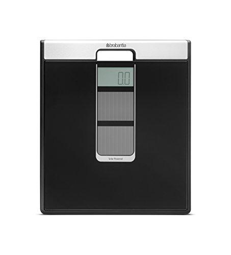 Brabantia Bathroom Scale Bilancia Pesapersone ad Energia Solare, Plastica, Nero