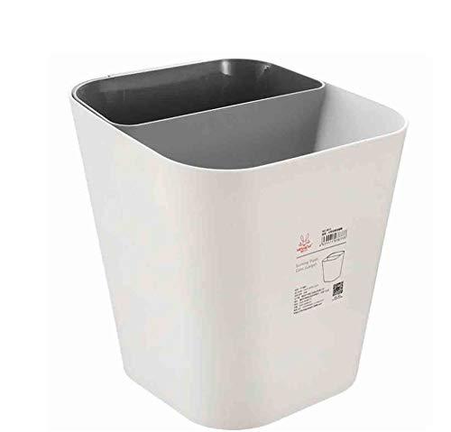 CSPFAIRY Mülleimer, Trockene und Nasse Trennung, mit 2 Inneneimern Mülltrennsysteme, Geeignet für Küche, Büro, Wohnzimmer, Schlafzimmer,White-Gray (2 Nass Trocken)