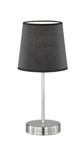 WOFI Tischleuchte Cesena 1-flammig, schwarz, Ø ca. 14 cm, Höhe ca. 31 cm, Stoffschirm 832401100000 (Nachttisch-kleiner Tisch)