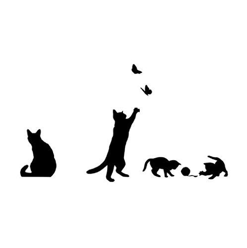 Pegatina de pared Sannysis Decoración de hogar, gato, 42cm X 36cm