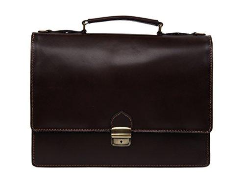 MARTIN Damen und Herren Leder Aktentasche Notebooktasche Arbeitstasche bis 13.3 Zoll FARBAUSWAHL (Dunkelbraun)