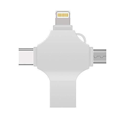 BWHTY 4 in 1 USB-Flash-Laufwerk, externer USB 3.0-Speicher fuuml;r iPhone iOS Android Samsung-Telefone, Typ C-Gerauml;te und Mac (Filme Ipad Herunterladen)