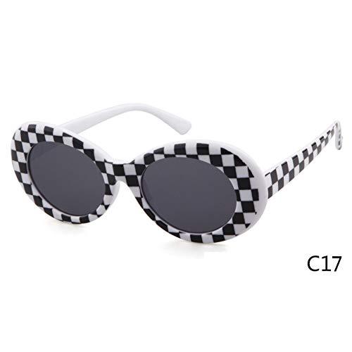 ZRTYJ Sonnenbrille Vintage kleine ovale Sonnenbrille Männer Frauen Markendesigner 90er Jahre Retro weißer Rahmen Kurt Cobain Brillen Sonnenschutz