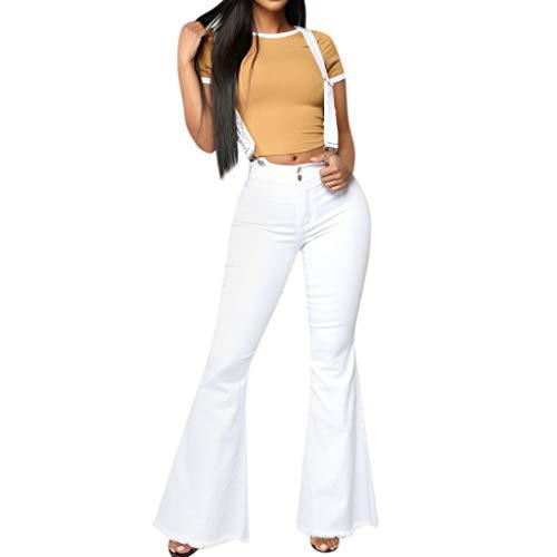 lim Haremshose,Ausgestellte Hose mit hoch tailliertem Knopfreißverschluss und Jeansriemen Hohe Taille Reißverschluss Jeans Knopfleiste Hosen Bell-Bottom-Hosen S-3XL ()