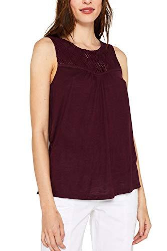 ESPRIT Damen 059EE1K016 T-Shirt, Rot (Bordeaux Red 600), Large (Herstellergröße: L)