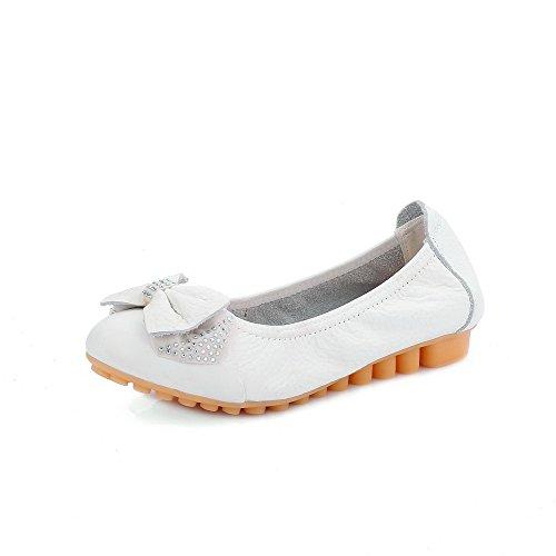 VogueZone009 Femme Rond Tire Cuir de Bœuf Mosaïque à Talon Bas Chaussures à Plat Blanc