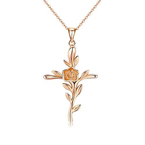Kreuz Kette Rose Blume 925 Sterling Silber 18k Rose Plated Kruzifix Halskette für Frauen religiöse Geschenke für Damen, Jungen, Mädchen