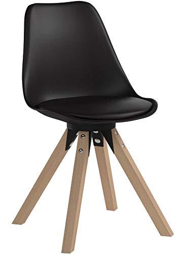 Duhome Elegant Lifestyle Stuhl Esszimmerstühle Küchenstühle !2 er Set! in Schwarz Küchenstuhl mit Holzbeine Sitzkissen TYP9-518M Esszimmerstuhl Retro Küchenstuhl Farbauswahl