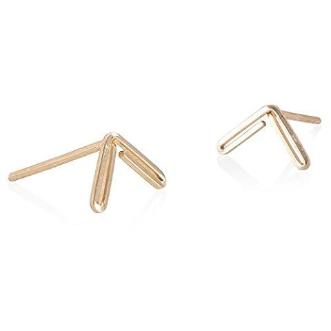 BOE Ladies 'Earring Studs Mini Arrow Gold Letter V Arrow Corner or Angle Stud Earrings 18K Gold Plated 925Silver,