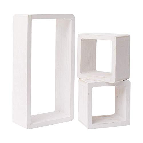 Rebecca mobili set 3 mensole da muro, scaffali pensili, 1 rettangolo 2 cubi, legno bianco, stile shabby, arredo camera soggiorno - misure: 41 x 24 x 9 cm (hxlxp) - art. re4119