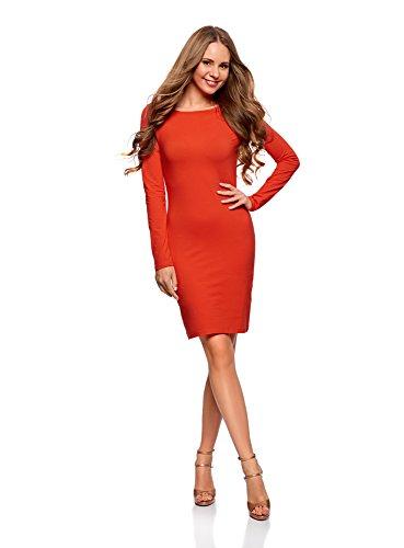 oodji Ultra Mujer Vestido de Punto Ajustado, Rojo, ES 40 / M