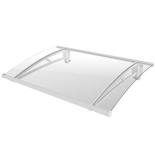 Homelux Türüberdachung Haustürvordach Pultvordach Aluminium 120 cm x 80 cm Weiss
