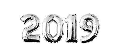 MyBeautyworld24 Folienballon Silvester Silber 2019 Neujahr Zahlenballon Zahlenluftballon Happy New Year Heliumballon (2019 Dekoration Ideen Silvester)
