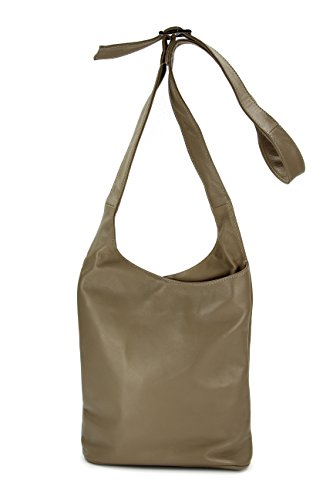 BELLI® ital. Schultertasche Cross Over Bag Nappa Leder Handtasche - Farbauswahl - 24x28x8 cm (B x H x T) Schlamm