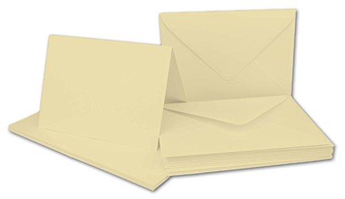 Faltkarten SET mit Umschlägen DIN A6 / C6 in Vanille | 20 Sets | Doppel-Karten & Briefumschläge aus Premium-Papier, 14,8 x 10,5 cm | bedruckbare Postkarten | ideal für Weihnachten, Grußkarten und Einladungen | Serie FarbenFroh aus dem Hause GUSTAV NEUSER