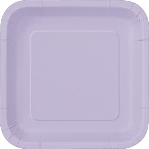 23cm Square Lavender Party Plates, Pack of 14