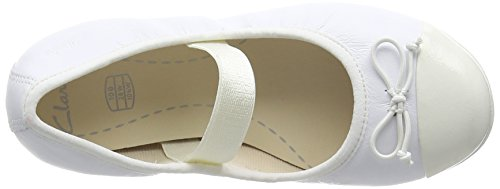 Clarks Kids Dance Puff Inf, Chaussons courts, non doublées fille Blanc (White Leather)