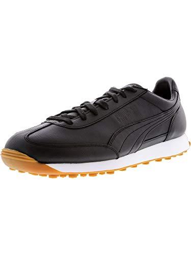 PUMA Men s Easy Rider Premium Black Black-White Ankle-High Leather Fashion Sneaker - 13M