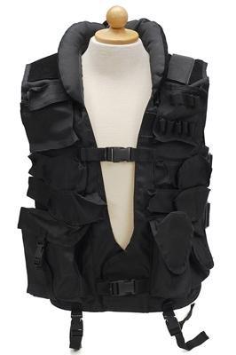 Multifunktions Tactical Einsatzweste mit Lederbesatz, viele Taschen, Einheitsgröße