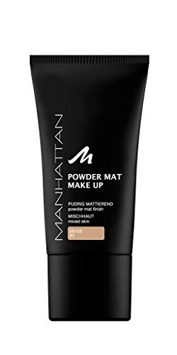 Manhattan Powder Mat Make-up, Mattierendes Puder und Foundation in einem, Farbe Beige 82 (1 x 30ml) -