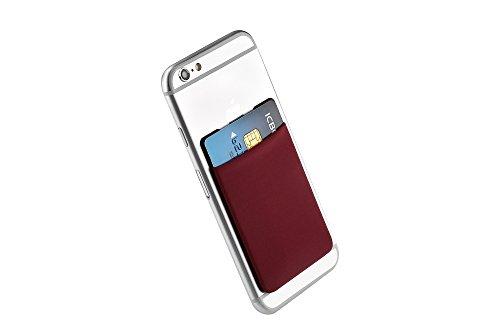 Cerbery® | Smartphone Kartenhalter | Auto Case Etui Fingerhalter Fitness Folie Halter Halterung Handy Hülle Kartenhülle Kopfhörer Sport | Apple iPhone 7 8 X Samsung Galaxy S8 (Violett) Weinrot