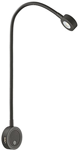 Integrierte Halogen Beleuchtung (Flexible LED-Leuchte Anbauleuchte Leseleuchte Bettleuchte 2034 Aluminium SCHWARZ | Nachttisch-Lampe mit integrierter 2-fach USB-Ladestation | LED-Lampe mit integrierten Druckschalter für 2 Helligkeitsstufen | Möbelbeschläge von GedoTec®)
