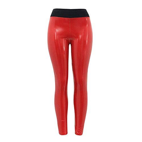 PAOLIAN Pantalones de Cuero Deporte Mujer, Pantalones Yoga Mujer Dama EláStico Brillante Leggings de Fitness Pantalones Inferiores (Rojo, L)