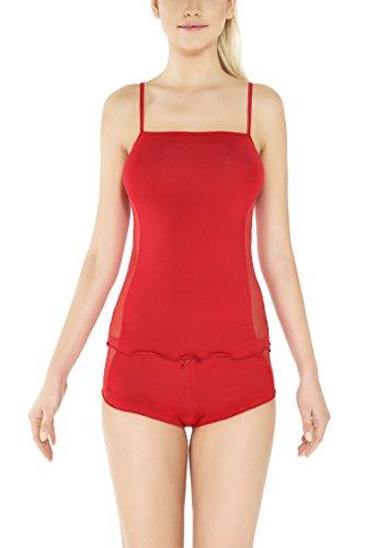 m.Lyra Damen Nachtwäsche Wäsche-Set aus Viskose Tanja (XS - 2XL) Rot
