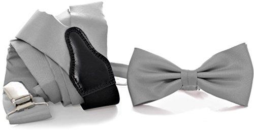 ADAMANT Designer Hosenträger Set Grau mit Fliege