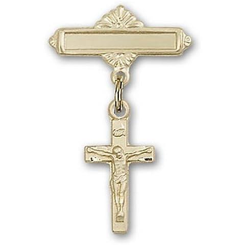 Icecarats Diseñador De Joyas De Oro Lleno Crucifijo Pin Insignia Encanto 1 1/8 X 5/8