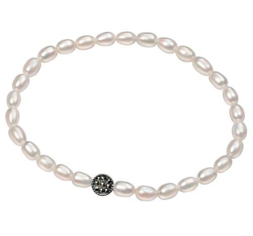 Elements-Braccialetto con perle d'acqua dolce, con ciondolo rotondo, in argento Sterling e Marcasite