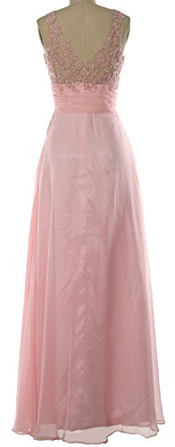 MACloth Women Straps Lace Chiffon Long Prom Dress Formal Party Evening Gown Fuchsia