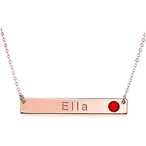 Hacool Collar grabado personalizado de la barra de la plata esterlina 925 con la piedra preciosa de Birthstone por encargo con cualquier nombre