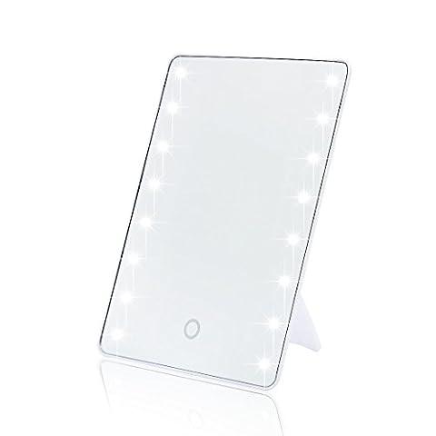 16 LED Lighted Miroir de courtoisie, TFCFL Portable écran tactile