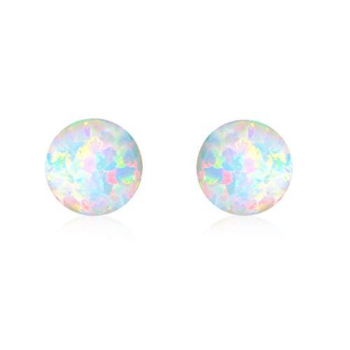 Ohrringe Mädchen 7 mm Ohrstecker Silber 925 Ohrringe Damen Opal Schmuck Geschenke für Frauen Kinder (E-Klein opal) (Ohrringe Opal Ohrstecker)