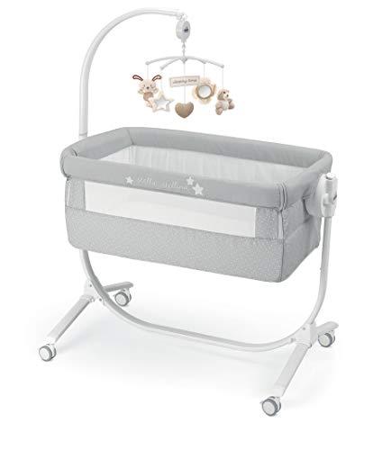 CAM 2 in 1 Beistellbett & Babywiege CULLAMI | praktisch & schön | Babybett 8 Höhenpostionen | Roll- & Wiegefunktion | hochwertige Materialien - Made in Italy (Sterne grau)