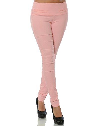 Damen Hose Treggings Skinny Stoffhose Stretch Röhre weitere Farben No 15555, Farbe:Rosa;Größe:44 / 2XL (Bilder Der 70er Jahre Outfits)