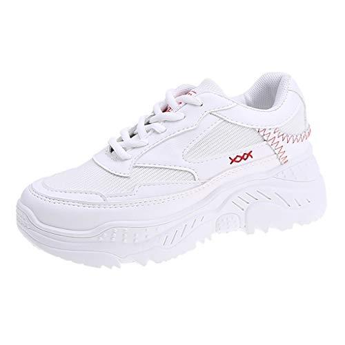 KERULA Laufschuhe Damen Herren Frauen Weiß Casual Sport Outdoor Wanderschuhe Med Lace Up Mädchen Schuhe Sneaker Sportschuhe Trainers Fitness Sneakers Trekking Sommer