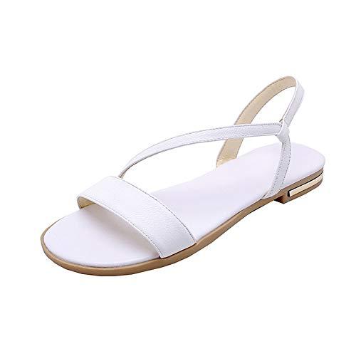 MENGLTX High Heels Sandalen 2019 Große Größe 46 Echtes Leder Schuhe Frauen Sandalen Slip On Sommer Schuhe Frau Flache Strand Schuhe Weibliche 11 Weiß -